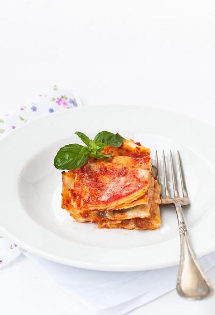 Lasagne estive  con pomodoro fresco e melanzane