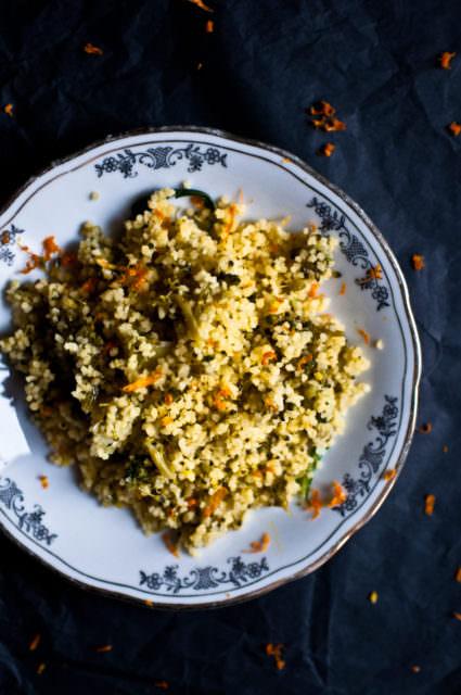 Cous cous con broccoli e succo d'arancia