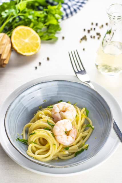 Spaghetti limone e gamberi