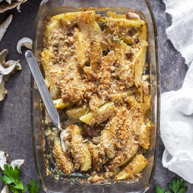 Funghi e patate al forno alla calabrese