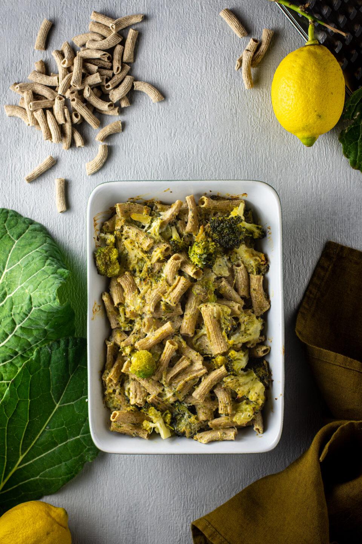 Rigataki al forno con broccoli e scorza di limone